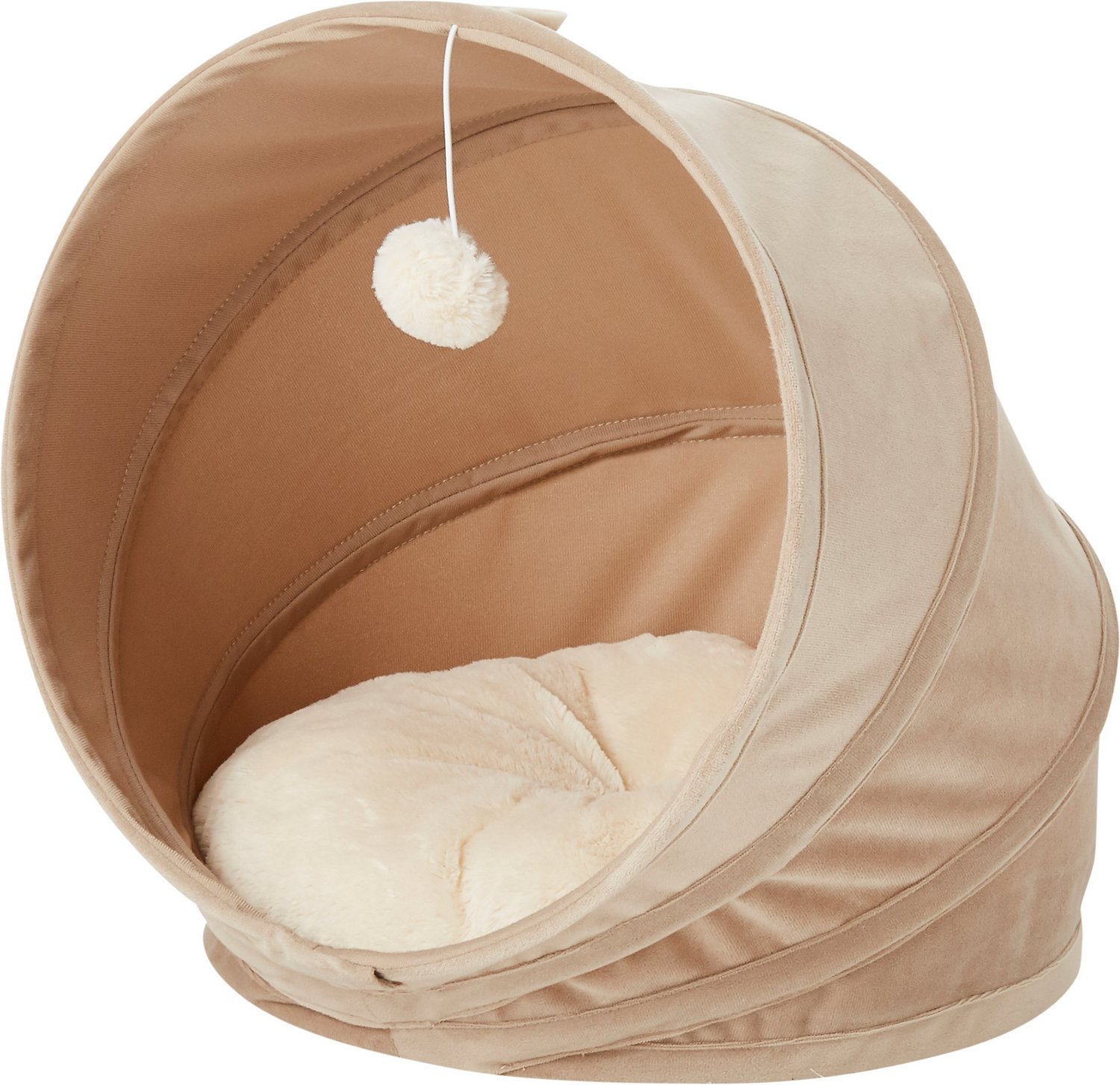 Frisco Foldable Canopy Cat Bed Sandy Beige Chewy Com