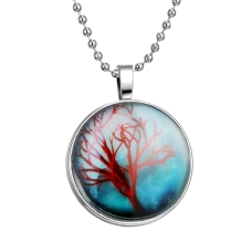 Brilliant Noctilucent Tree of Life Glowing Pendant Cabochon Chain Necklace