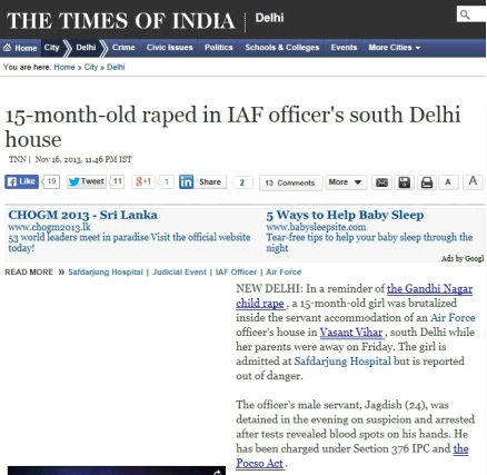 report on the Times of India website