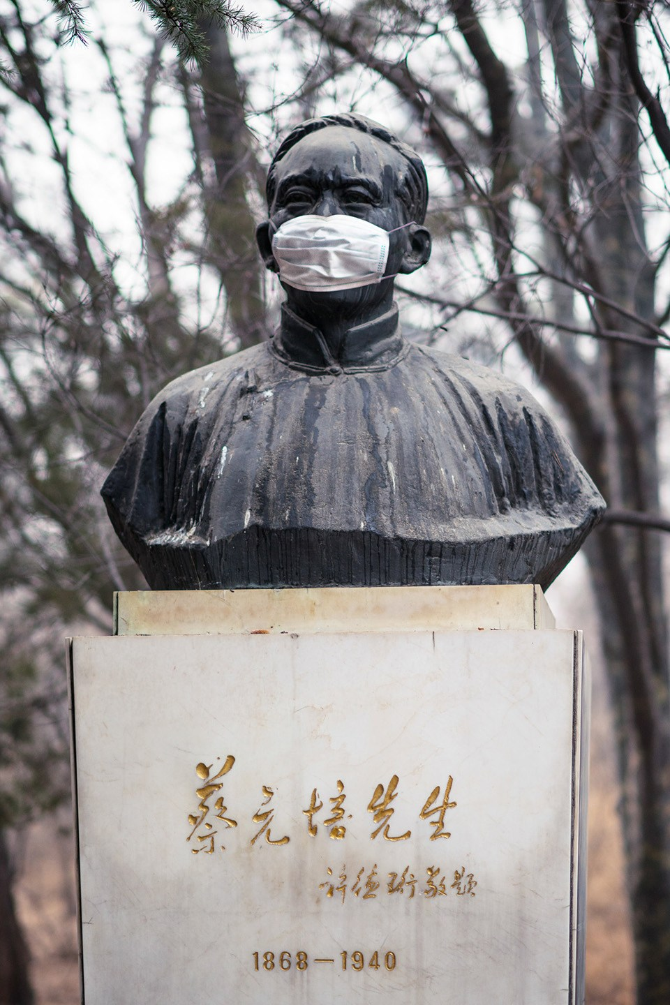 Statues in Peking University wear masks for heavy smog
