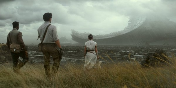Rey and company looking at the wreckage of the Death Star