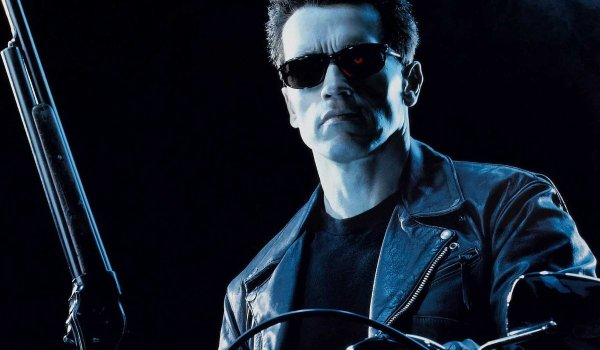 Terminator 2: Judgement Day The T-800 sits on his bike with a shotgun