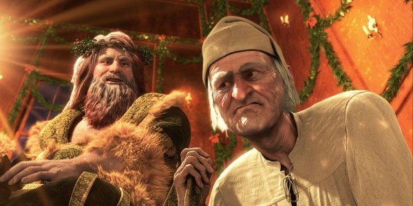 The Ghost of Christmas Present and Ebenezer Scrooge in A Christmas Carol (2009)