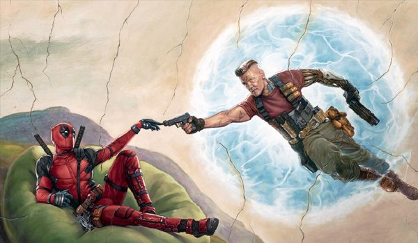 Deadpool and Cable Mural