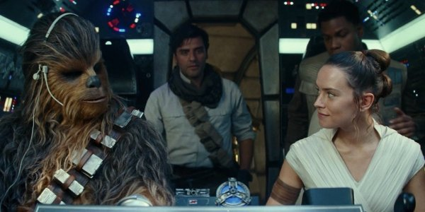 Rey, Chewbacca, Poe Dameron and Finn in the Millennium Falcon