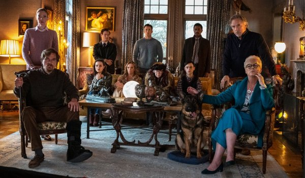 Knives Out the Thrombey family gathered in the living room