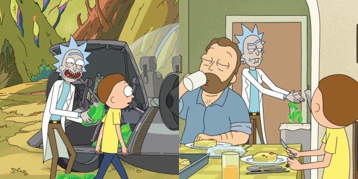 Rick y Morty Rick con rocas parásitas