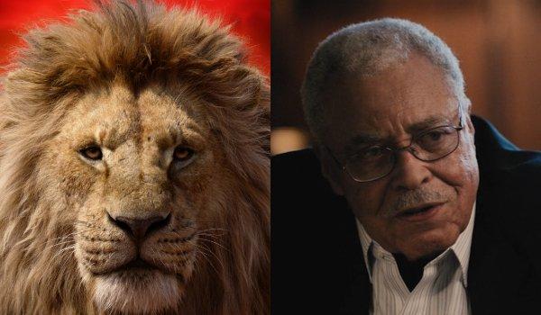 Le roi lion Mufasa et James Earl Jones côte à côte