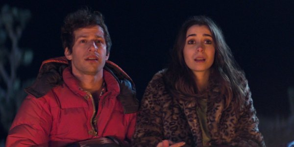 Andy Samberg and Cristin Milioti in Palm Springs