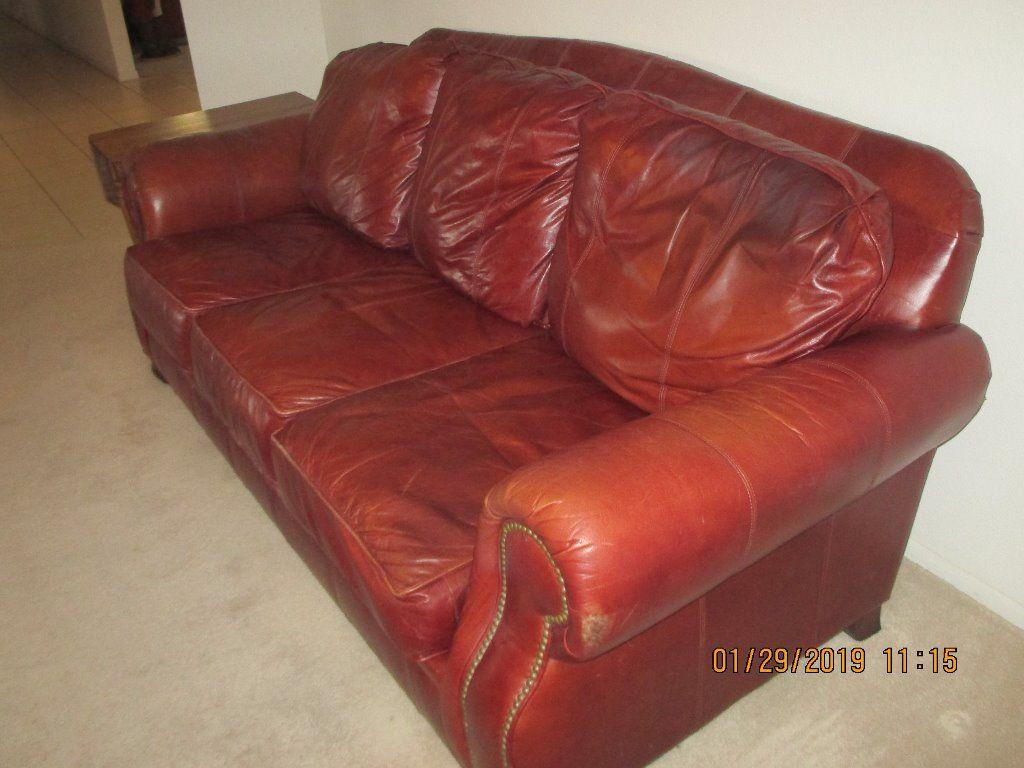 broyhill burgundy leather sofa sun