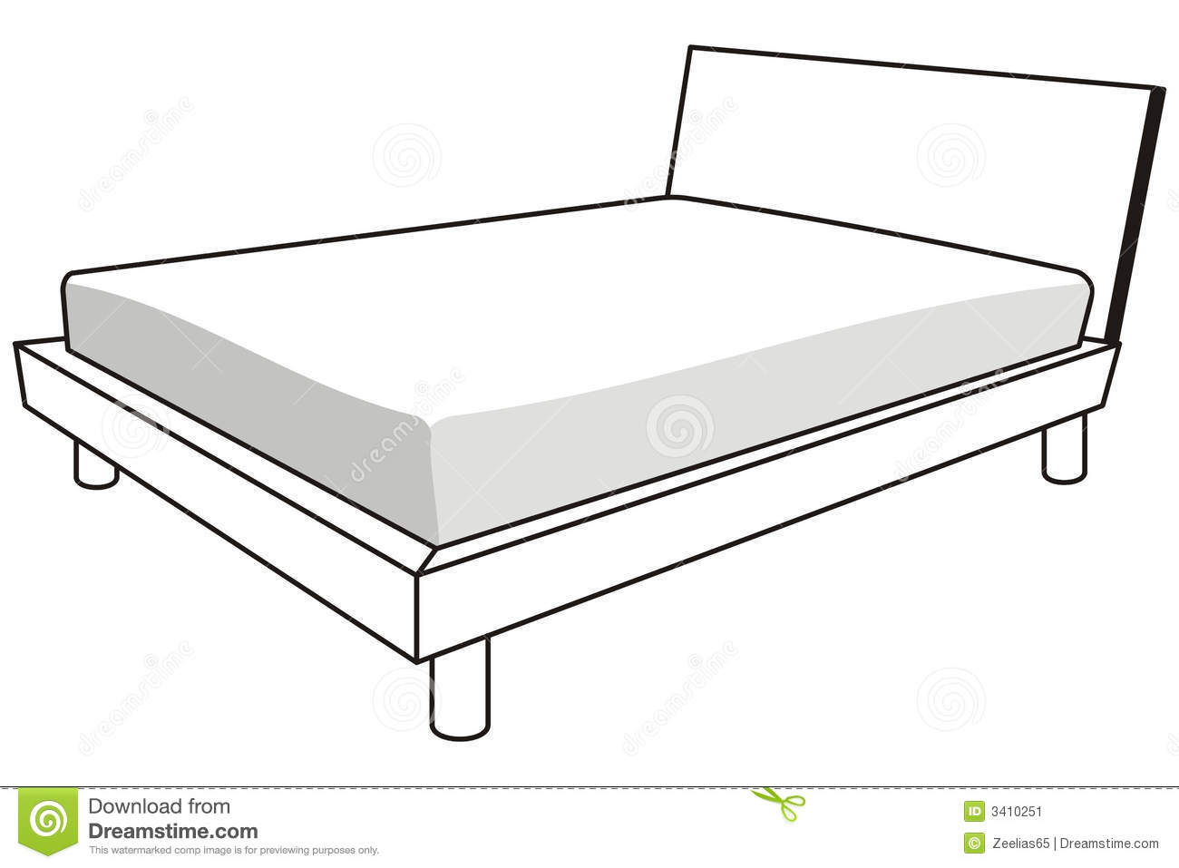 98 Bed Clipart Black And White