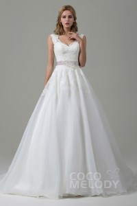 Cocomelody  Bold Open Back   Backless Wedding Dresses A Line Court Train Lace and Organza Wedding Dress CWZT15007
