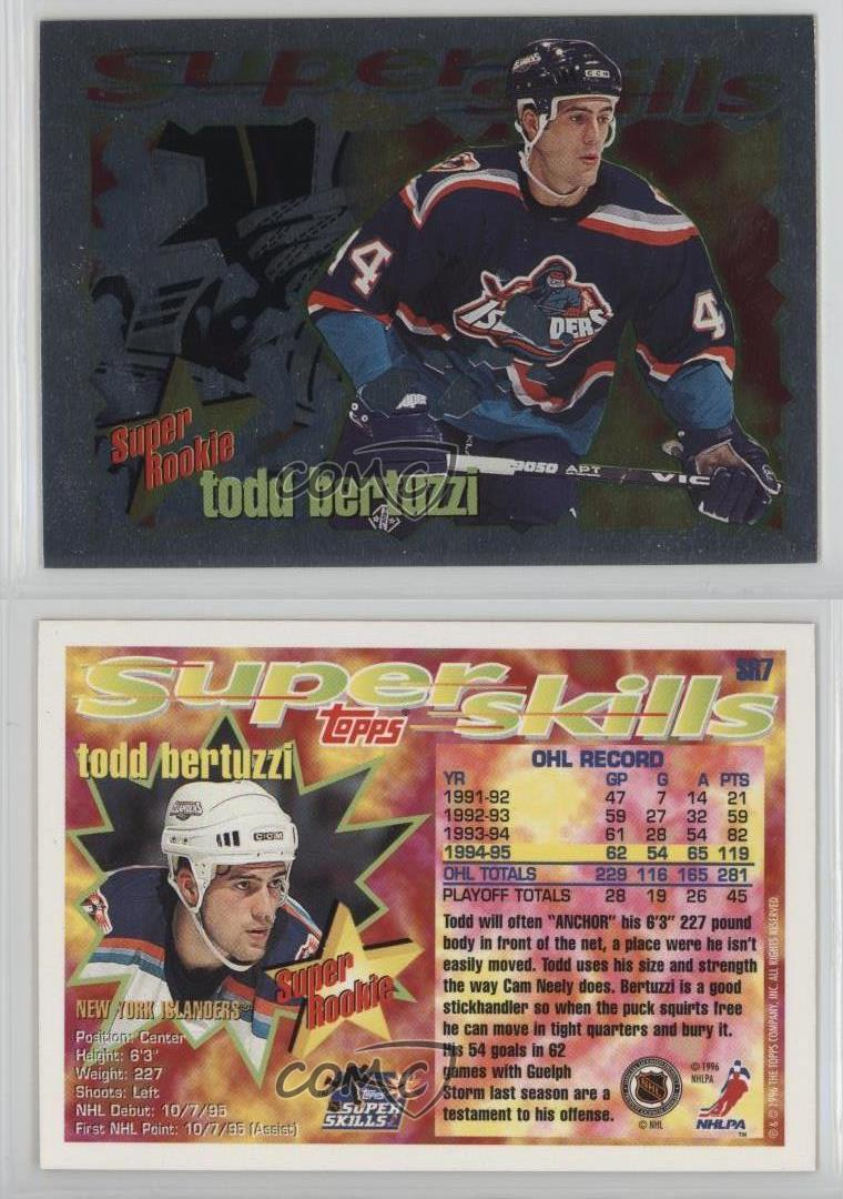 1995 Topps Super Skills Rookies SR7 Todd Bertuzzi New York ...