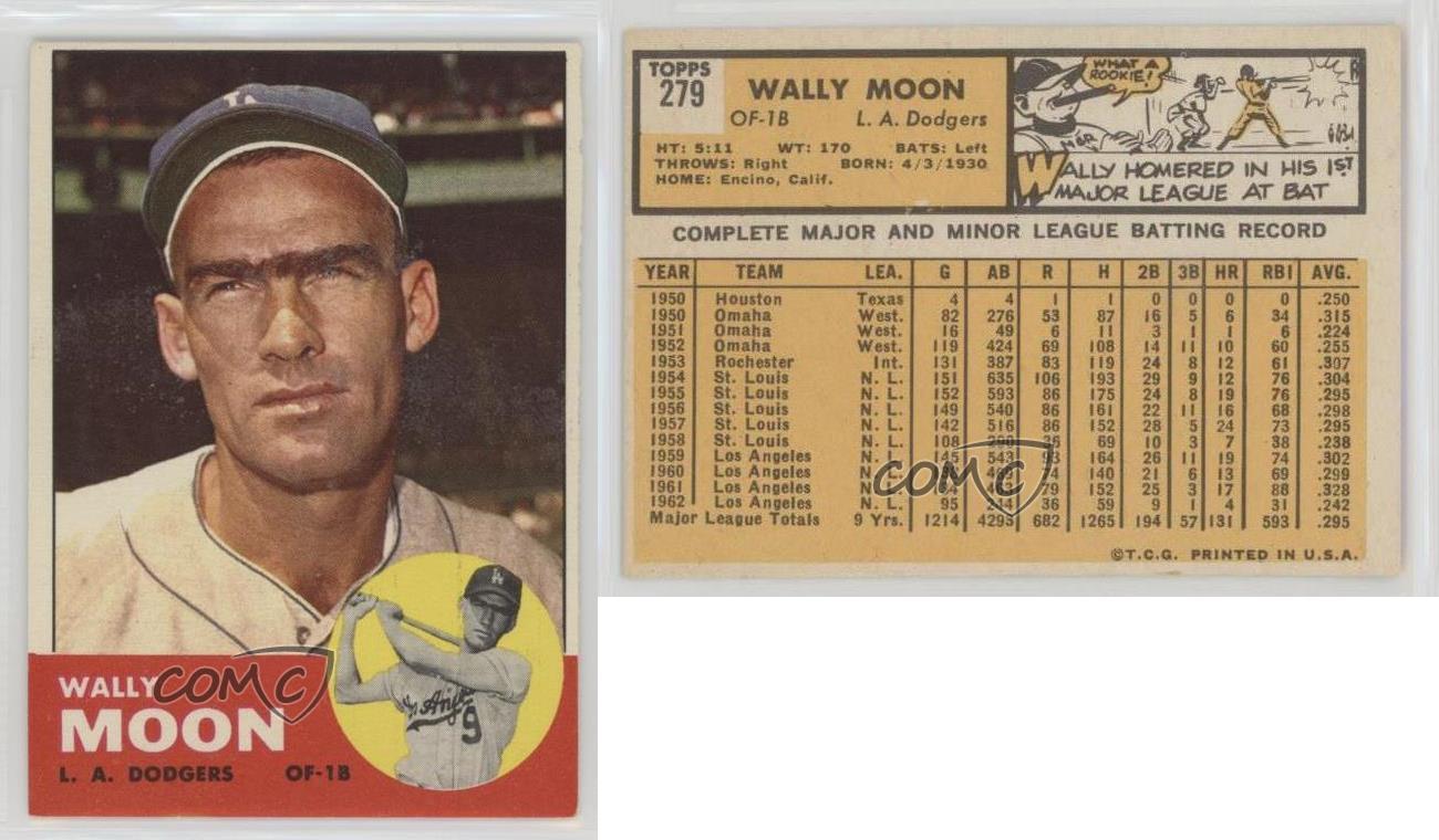 1963 Topps #279 Wally Moon Los Angeles Dodgers Baseball ...