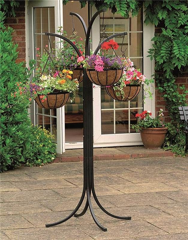 Flower Garden Stand 4 Hanging Plant Pot Holder Patio Decor ... on Hanging Stand For Plants  id=62257