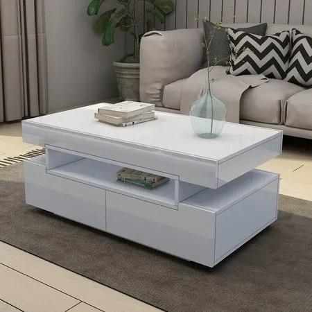 modern white coffee table 4 drawer storage shelf high gloss wood living room furniture