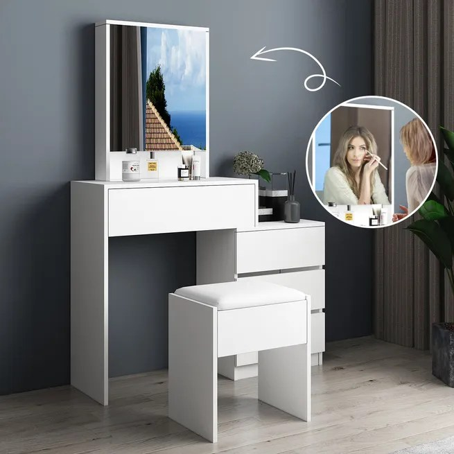 white makeup mirror dressing table stool set with 4 storage drawers and shelves