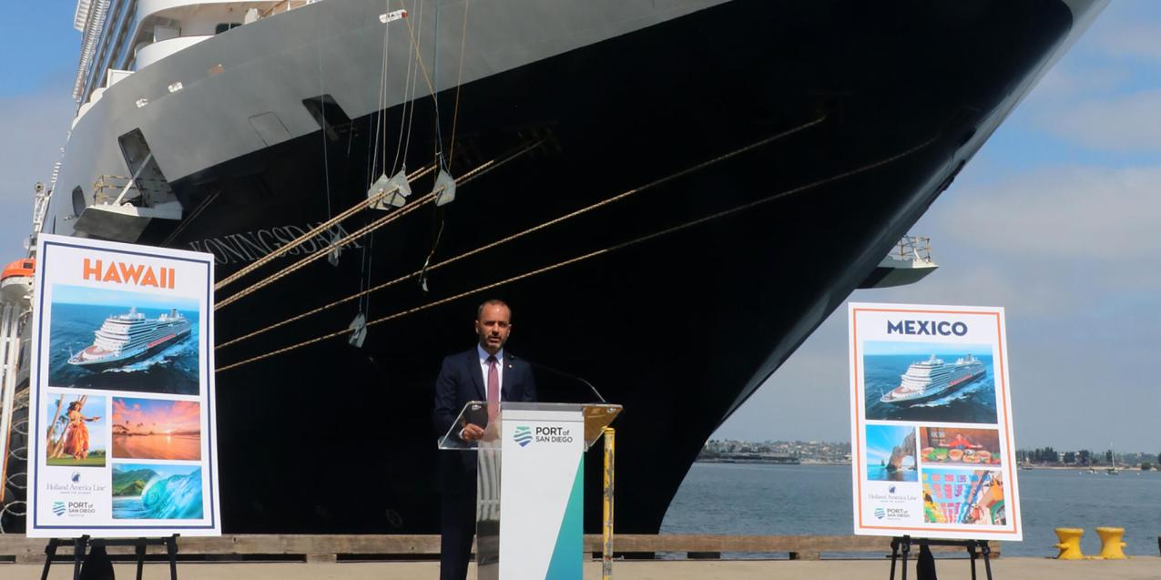 Holland America Line CEO Gus Antorcha speaks in front of Koningsdam in San Diego. (Photo: Holland America Line)
