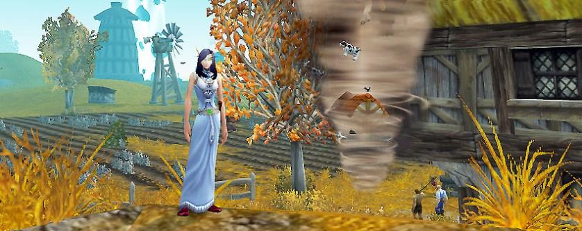 Dorothy close to a tornado