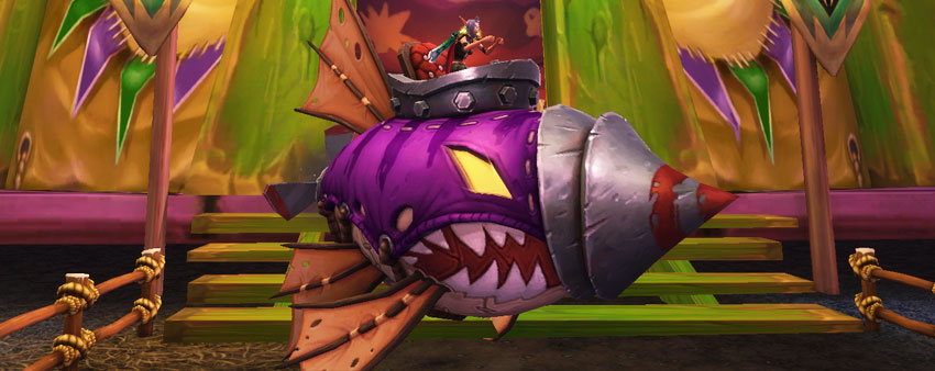 Female Blood Elf riding the Darkmoon Dirigible