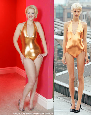 Two women, same bathing suit - which should be a model? A model what?