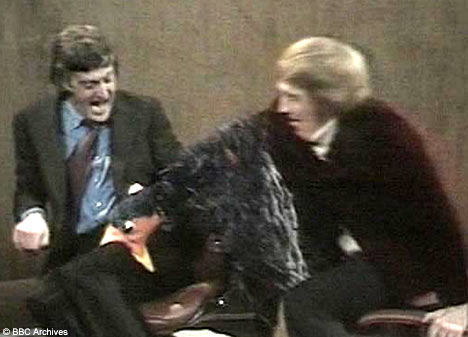 Parky being bitten by a puppet he was interviewing in the Seventies