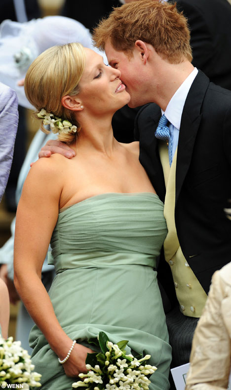 Prince Harry kissing Zara Phillips at Peter Phillips Autumn Kelly wedding 17 May 2008