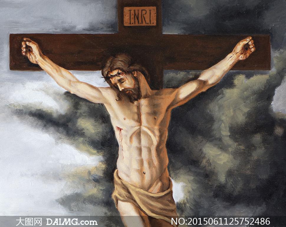 被釘在十字架上的耶穌油畫高清圖片_大圖網圖片素材