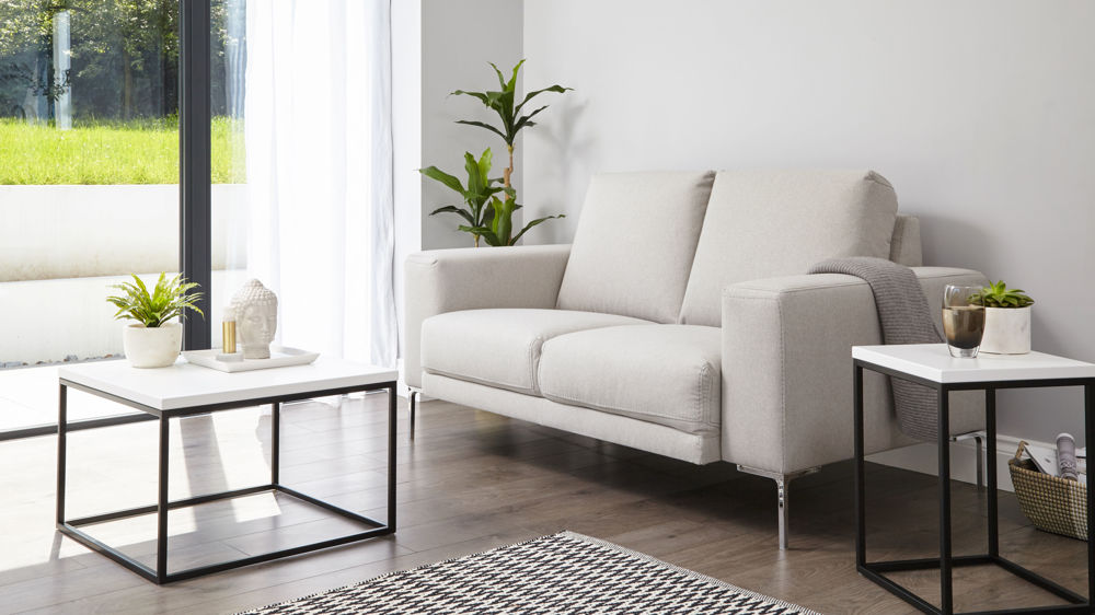 Modern White And Metal Side Table