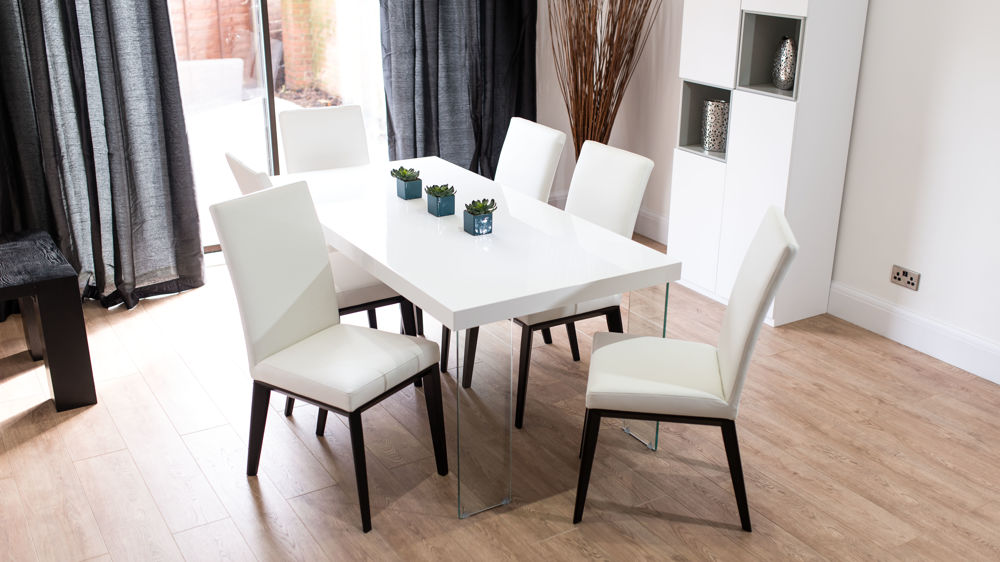 Modern White Gloss Dining Set Black White Grey Leather Chairs Sets 6 8