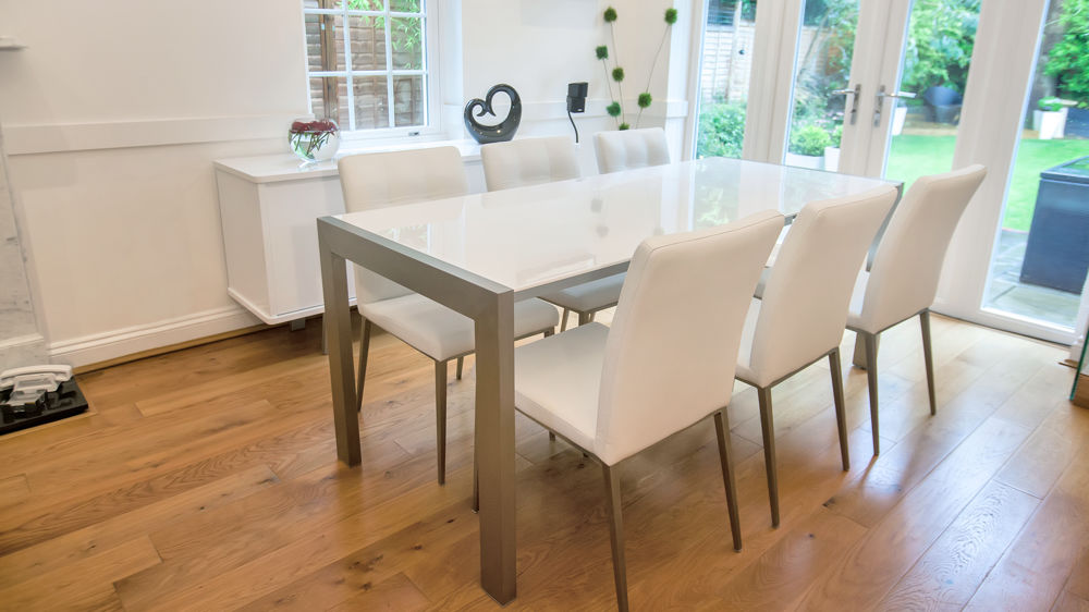 White High Gloss Extending Dining Table Brushed Metal Legs