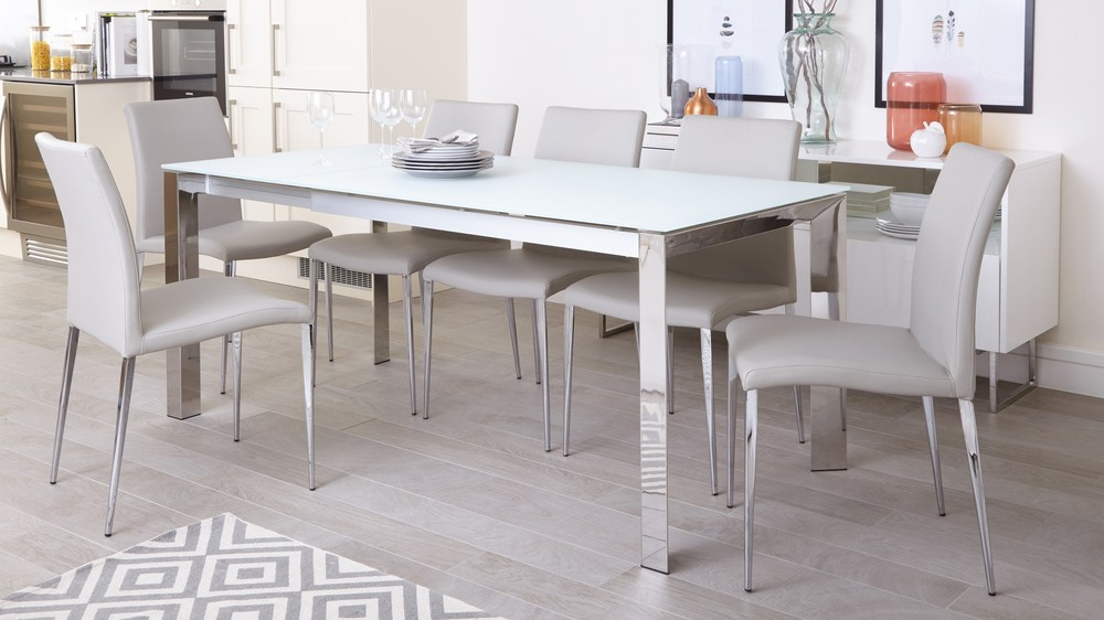 Eve White Frosted Glass And Chrome Extendable Dining Table And Chairs Danetti
