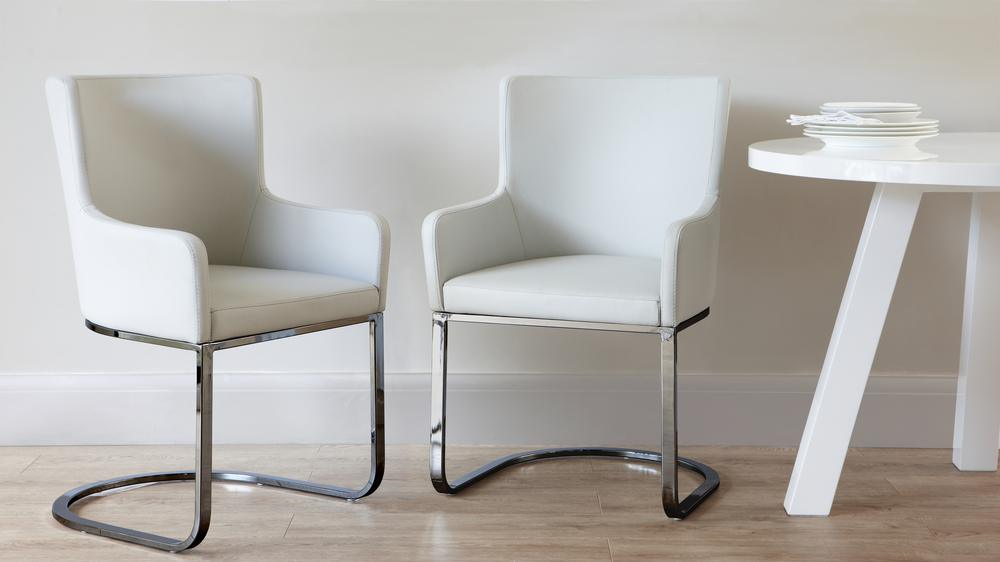 Black Chrome Cantilever Dining Armchair Julia Kendell UK