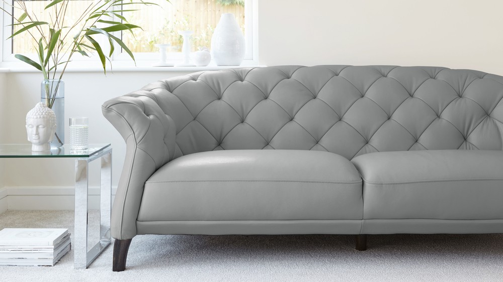 Modern 2 Seater Leather Chesterfield Sofa   UK Cloud Grey Quality Leather Sofa