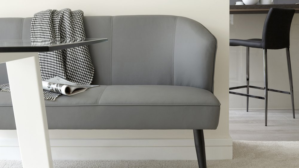Mellow 3 Seater Grey Faux Leather Bench With Backrest