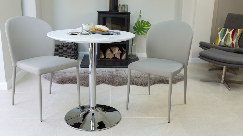 Round White Gloss 2 Seater Dining Table