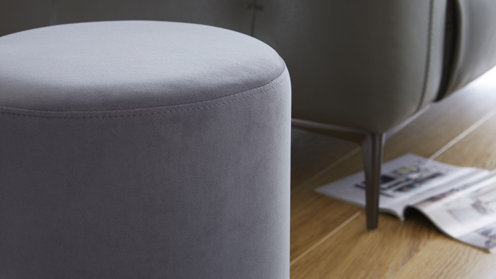 Silver Grey Round Velvet Stool Footstool Living Room