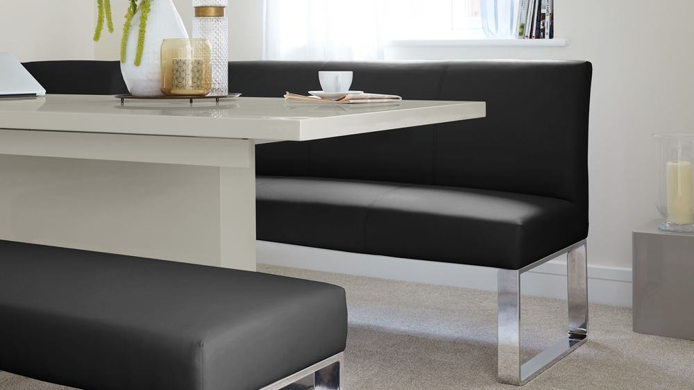 Grey Gloss And 7 Seater Right Hand Corner Bench Dining Set