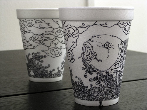 Coffee cup illustrations by Cheeming Boey
