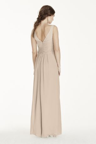 Long Illusion Tank Crinkle Chiffon Dress   David s Bridal Mouse over to zoom