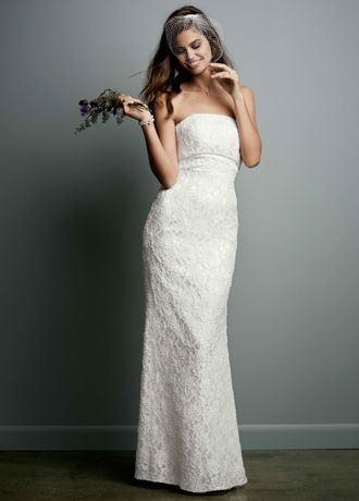 Allover Beaded Lace Sheath Gown with Empire Waist    David s Bridal Long Sheath Wedding Dress