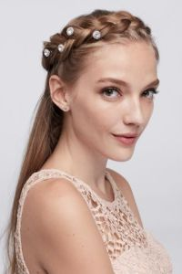 Prom Hair Accessories and Pieces   David s Bridal Solitaire Crystal Hair Spirals