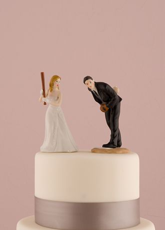 Wedding Cake Toppers   David s Bridal Hit a Home Run Baseball Cake Topper