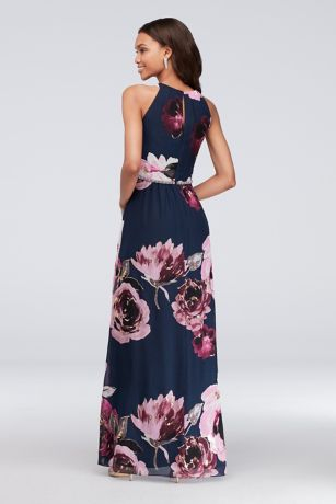 Floral Print Chiffon Halter Dress With Beaded Belt David