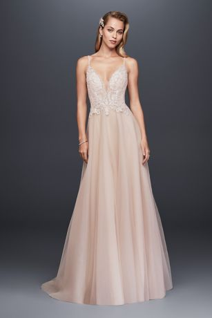 As Is Beaded Bodice Organza A Line Wedding Dress Davids