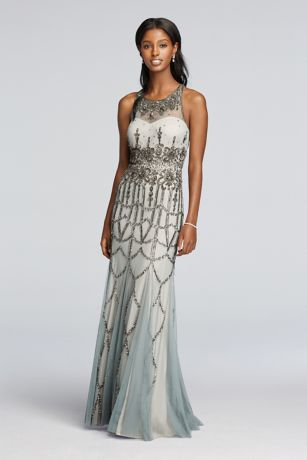 Sleeveless All Over Beaded Dress   David s Bridal Sleeveless All Over Beaded Dress  061908420  Long Grey Soft   Flowy  Adrianna Papell Bridesmaid Dress
