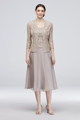 Long Cap Sleeve Party Dress With Beaded Neckline   David s Bridal Floral Lace Tank Dress with 3 4 Sleeve Jacket   Dainty floral lace tops the