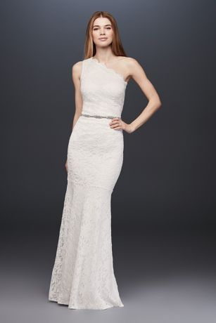 Scalloped One Shoulder Lace Sheath Gown Davids Bridal