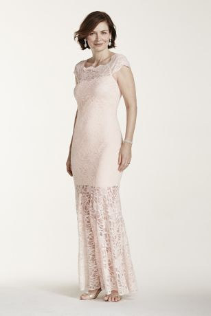 Allover Lace Delicate Dress   Davidsbridal Off The Shoulder Lace Dress with Illusion Hemline