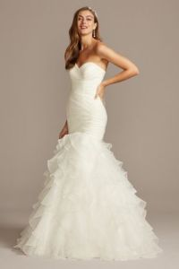 Organza Mermaid Wedding Dress with Lace Up Back   David s Bridal Long Mermaid  Trumpet Formal Wedding Dress   David s Bridal Collection